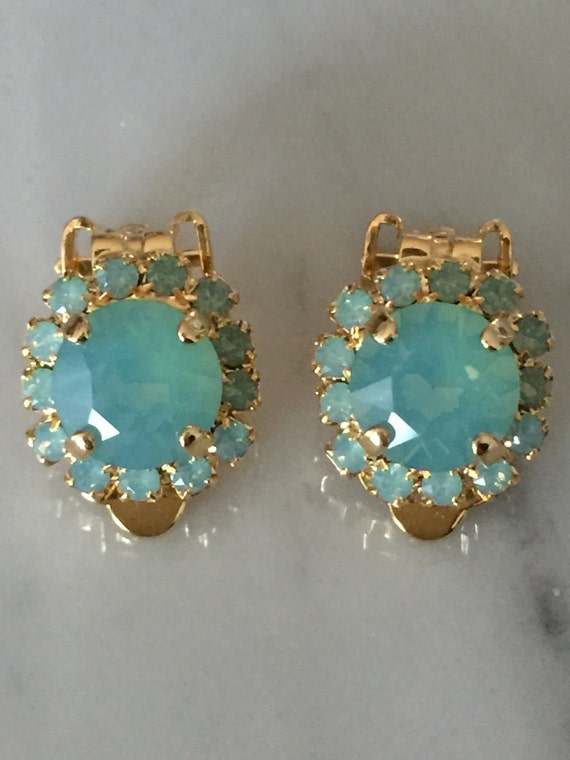 Swarovski Pacific Opal Crystal Halo Clip On Earrings, Yellow Gold