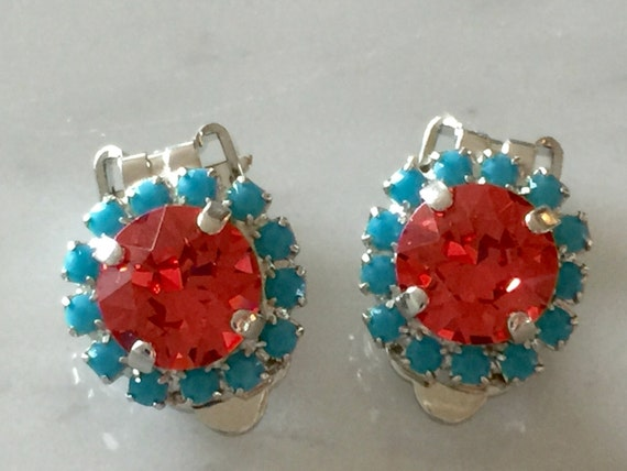 Padparadscha & Turquoise Crystal Clip On Earrings, Silver