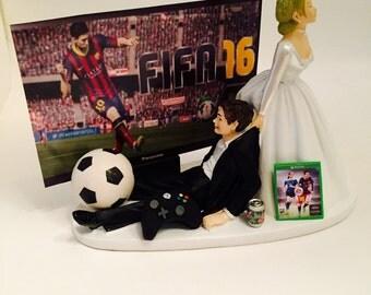 Funny Soccer Addict Fifa 16 Wedding Cake Topper