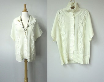Winter New Old Stock Short Sleeve Cream Wool Cardigan Sweater Tunic With Cable Stitch Knit and Button Up Front Closure, Loose Fit
