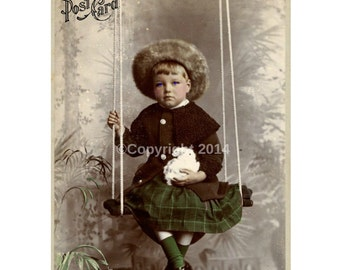 Child Girl Swing Victorian Girl Boy Rabbit Printable Digital Collage Ephemera Altered Art Mixed Media Vintage Instant Image Cards  Photo
