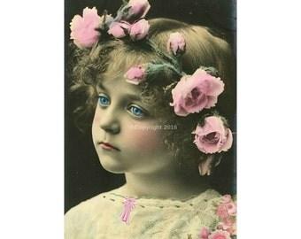 Victorian Girl Vintage Victorian Altered Digital Art Collage Flowers Child Ephemera Instant Download  Printable  Image Digital Photo