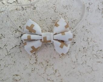 Gold crosses hair bow, clip or headband