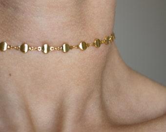 Dreamily Dainty 24k Gold Choker Necklace ~ Gold Choker Necklace ~ Boho Jewelry ~ Layering Necklace ~ Gold Necklace
