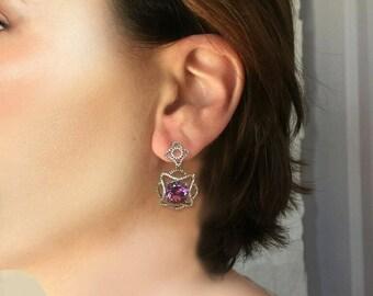 Purple Amethyst and White Topaz  Earrings