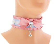 Pink satin Ribbon Kitten Collar, Kitten Play Collar, Pet Play Collar, Choker, Kitten Play Collar, BDSM, Pretty Bow BDSM Collar, Princess, 1L