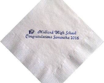 Personalized Graduation Beverage Napkins with Name Class of 2018 - Any School, Any Color