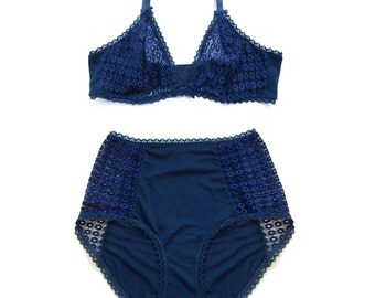 Bralette and panties - Blue navy cotton lingerie set, bralette and panties, high waisted panties and triangle bra