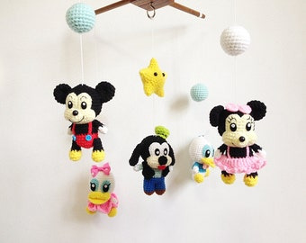 Baby mobile - Mixed Cartoon crochet mobile, Nursery decor, Baby gift, Amigurumi Mickey, Minnie, Donald duck, Daisy duck, Goofy, crib mobile
