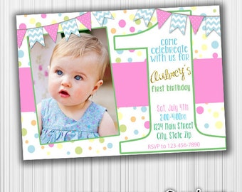 Polka Dot Birthday Invitation, Photo Invite- Printable, Glitter Invitation, Custom,Digital