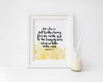 50% OFF 8x10 Honeycomb Handlettered Scripture Art