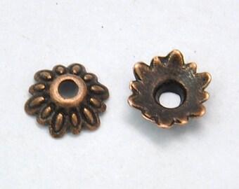 8mm Copper Bead Caps Flower Copper Bead Caps Flower Bead Caps Touch of Bling Copper Jewelry 100 Bead Caps in Copper