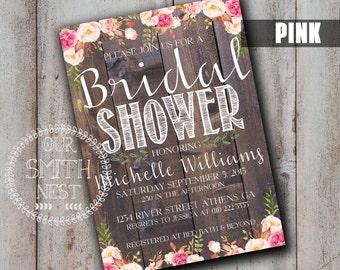 Simply Rustic Bridal Shower Invitation DIY PRINTABLE Customizable Digital Print