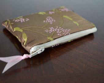 Floral Silk Brocade Change Purse, Handmade, High Quality, Card Holder, Zipper Pouch, Wallet, Womens