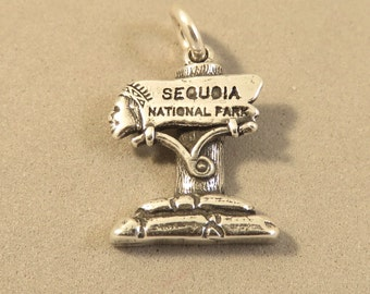 Sterling Silver SEQUOIA NATIONAL PARK Entrance Sign Charm Pendant California General Sherman Grant Giant .925 Sterling Silver New 925 tr129