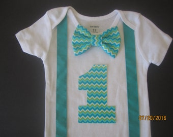 Tursquoise chevron bow tie outfit, boy 1st birtday shirt, baby first birthday outfit, seafoam bow tie shirt, mint suspenders shirt