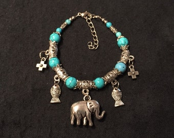 Turqouise Bracelet w/Pretty Charms Free Shipping