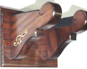 Classy Walnut Wall Mount Banjo Hanger - Silver/ Brass Music Notes