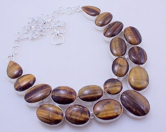 Tiger's Eye Awesome Look Stone .925 Silver handmade Necklace Jewelery (f-307)
