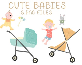 Cute Babies Baby Toddler Stroller Clipart Clip Art Digital Scrapbooking Instant Download Printable Invitation Card PNG
