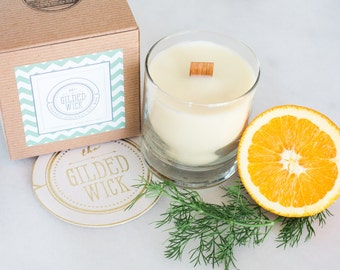 SALE!!! Fennel & Sweet Orange, Pure Essential Oils, Candle, Wood Wick, Coconut Soy Wax, Vegan, Gift, REFINED