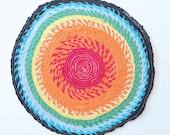 Rainbow Round Rag Rug- Tshirt Scrap Fabric Twine