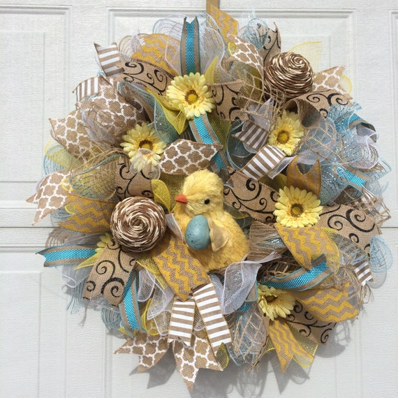On Sale Easter Wreath Easter Deco Mesh Wreath Spring Mesh