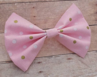 Light Pink w/ White & Gold Polka Dot Bow Clip or Headband / Pink Polka Dot Bow Clip / Pink Hair Bow / Polka Dot Hair Bow Clip / Bow Headband