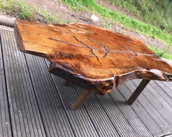 Oak Coffee Table with Glass Resin