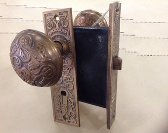 Eastlake Doorknob SET w/ mortise, 1 Door Plate