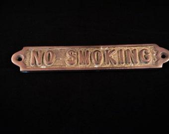 Brass No Smoking Sign