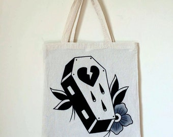 Original hand painted traditional tattoo style broken heart coffin 35cm x 35cm canvas bag