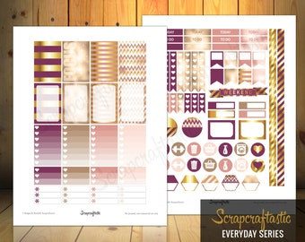 Sophisticates Pattern, Plum, Gold, Pink Everyday Series Printable Planner Stickers for the Classic Mambi Happy Planner