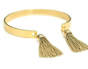 Gold or Silver Tassel Bangle | Chain Tassel Cuff | Double Metal Tassel Bracelet