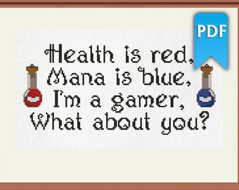 Health is red, Mana is blue - gaming easy cross stitch pattern. Instant download!