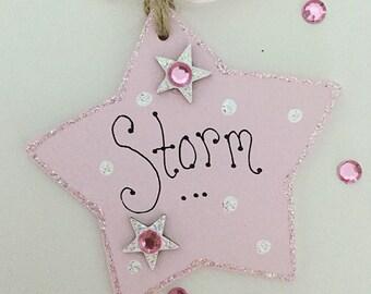 Personalised handmade star gift tag plaque keepsake gift