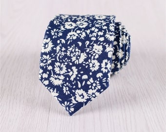 mens tie.floral ties.deep blue necktie.suit accessories.tie for wedding gift.mod neckties.cotton ties.casual necktie.informal ties+nt.s425