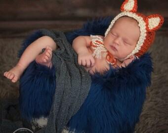Fox bonnet, fox hat, newborn photo prop, baby bonnet