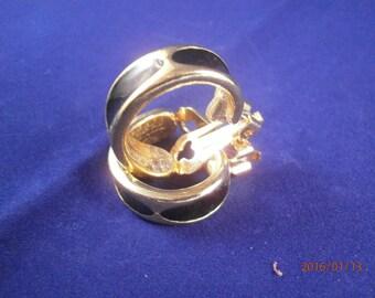 vintage LaFemme Earrings,Clip on, enemaled ,golden