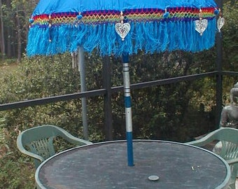 Umbrella  Two (2) ornamental approx 7' x 4' (one pair) choice of color Blue Red Orange or Purple