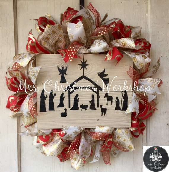 Christmas Wreath Burlap Wreath Nativity Religious Red And Gold