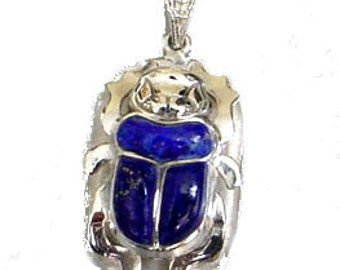 Scarab Jewelry - Egyptian Silver Scarab with Lapis Stone Pendant - Scarab Necklace