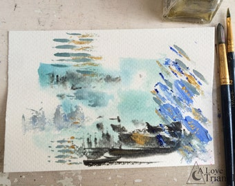 Paint Palette 4, Abstract artwork, Acrylic, Watercolour, Oil painting, Mark making, Mixed media illustration, Colour experiment, Postcard.