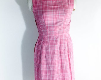 Vintage Dress Pink Dress And Jacket Pink Plaid Dress Shift Dress 1950s Day Dress Summer Dress Rockabilly Swing Dress