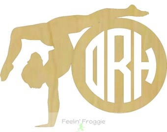Gymnast / Dancer with Circle Border Connected Monogram Style 5 Wood Cutout, Door/Wall Decor Hanger