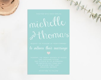 Classic beach wedding invitation printable, DIY wedding invitation