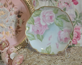 Beautiful Hand Painted Pink Roses Bavarian Porcelain Plate