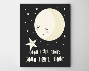Moon nursery art, Stars and moon nursery art, moon art, Nursery art moon., monochrome nursery poster