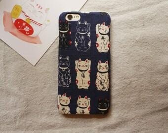 Lucky Cat Fabric iPhone case iPhone 6 6S 6 Plus 6S Plus 5s 4s iPhone 7 7plus