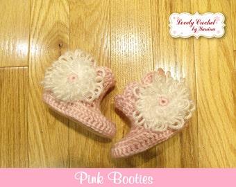 Crochet Newborn Baby Girl Pink Booties, Photo prop